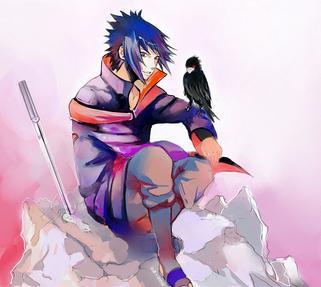 """Aah mais qu'il est beau qu'il est fort blablabla et oui Sasuke a tous pour plaire mais la seul chose qui l'interresse c'est  se venger de son frère Itachi. En effet celui-ci à anéanti son clan ne laissant que son p'tit brother en vie!Lors des examen des chûnin Sasuke perd contre Orochimaru qui celui-ci lui offre la marque maudite.depuis son envie de devenir de plus en plus fort grandit et finit par renoncer à sa vie dans le village de Konoha laissant ses """"anciens"""" amis seul et desespérés.Sakura et Naruto malgré tous leurs efforts ne pourront pas le faire changer d'avis... On retrouve Sasuke deux ans et demi plus tard mais ces retrouvaillent ne se font pas dans la joie Sasuke décide d'anéantir Naruto et finit par découvrir son secret ! Il comprend que Naruto possède le chakra du démon renard (ou Kyubi).Kyubi le prévient de ne pas tuer Naruto ou il le regréttera...Bien plus tard Sasuke décide de vaincre Orochimaru ( devenue pendant ses 2 ans son maître) et forme sa propre équipe...Plus tard, Sasuke retrouva son frère Itachi et le combat fit rage! chacun possèdait des techniques très puissantes même insoupçonnable!Mais ils ceux retrouvèrent dans un sale état aussi bien que Sasuke qu'Itachi. Itachi lui expliqua la vrai raison du pourquoi il l'avait laissé en vie. il désirait les yeux de son frère.Mais Itachi succomba à la mort et Sasuke resta inconscient jusqu'à son réveil ou se retrouva dans le repère de Tobi le leader de l'Akatsuki et lui raconta la véritable histoire de la nuit ou il y eut le massacre des Uchiwa. Ainsi Sasuke """"aidé"""" par l'Akatsuki continua sa vengeance. Néanmoins Sasuke su que Tobi est Madara Uchiwa, le fondateur du clan Uchiwa et qu'il ne s'arrêtera pas là avec lui. Mais pour l'instant il  ne souhaite qu'éliminer les haut membres de Konoha ainsi que l'hokage qui est à ce jour Danzou.Effectivement, d'après Tobi Itachi à anéanti son clan car les hauts membres lui avaient ordonné car son clan préparait un coup d'état.Récemment Sasuke à tenté d'éliminer"""