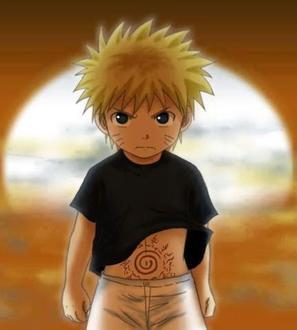 """Bien maintenant je vous présente notre héro! Lors de sa naissance son père Minato le quatrième hokage (qui est un grade qui montre que c'est un ninja très puissant et veille sur son village) pour sauver le village sacrifie sa vie et enferme le démon renard à neuf queues Kyubi dans le bidou du p'tit Naruto.quelques années plus tard Naruto qui n'a alors que 12 ans rêve de devenir à son tour un hokage mais la route est difficile surtout lorsque l'on est rejetée par tous, et que l'on possède un démon en soi! c'est sûre c'est pas facile.... bref il devient guénin et fait équipe avec Sakura Haruno (dont il est très amoureux) et Sasuke Uchiwa son rival (plus tard Naruto le considéra comme son frère ) avec pour  prof Kakashi Hataké!Donc finalement lors de ses aventures il arrive à prouver qu'il est fort (à sa manière) et finit par se faire respecter, et surtout il se fait plein d'amis (ex: Shikamaru, Gaara, Kiba etc etc).Mais lorsque que Sasuke voit le progrès qu'il fait sa soif de puissance pour sa vengeance finit par rejoindre le mal au côté de Orochimaru malgré le combat terrible qui finit par se produire entre les deux amis.Naruto decide alors de suivre Jiraya un des trois ninja légendaire (Orochimaru et Tsunade) et quitte le village de Konoha pour un temps afin de devenir encore plus puissant pour sauvée Sasuke.Au final les trois guénins continuent leurs """"entrainements""""de leurs côtés!Deux ans et demi plus tard Naruto revient au village et retrouve Sakura et décident de partir à la recherche de Sasuke ensemble! Une première rencontre se fît dans un repère d'Orochimaru mais sans succès Sasuke après avoir découvert Kyubi en Naruto disparait! Naruto et Sakura n'abandonne pas et apprends ce qui lui arrive de bouche à oreille, soit qu'il a vaincu orochimaru mais aussi Itachi quelques temps plus tard. Pourtant alors que Sasuke était tout proche Naruto et son équipe arrive encore trop tard pour le retrouver enfin.Après cette deuxième échec, Naruto retrant au village appris que"""