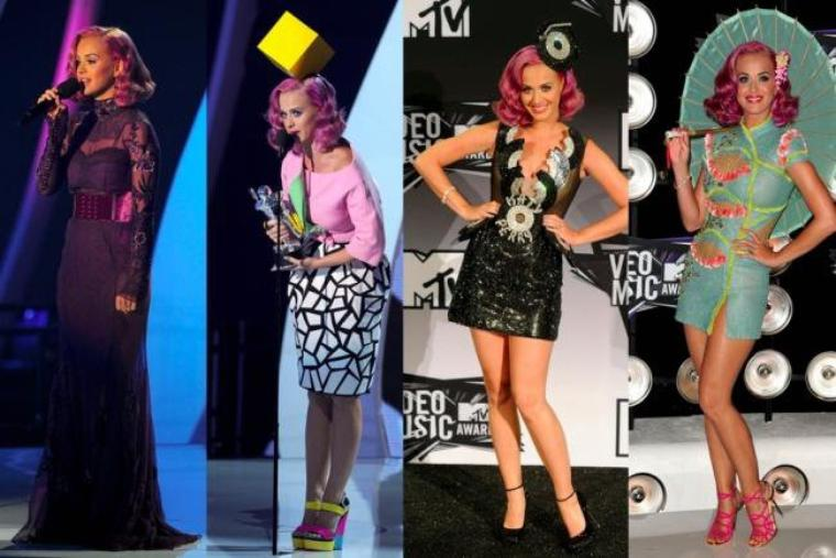 LES 4 ROBES DE KATY PERRY AUX MTV VMA 2011 .