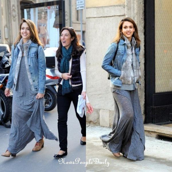 11/11/11> Jessica se promenant dans les rues de Milan (Italie), et se trouvant a l'hotel Armani pour une soirée. Trés belle robe qui change son style c'est un TOP for me and you ?