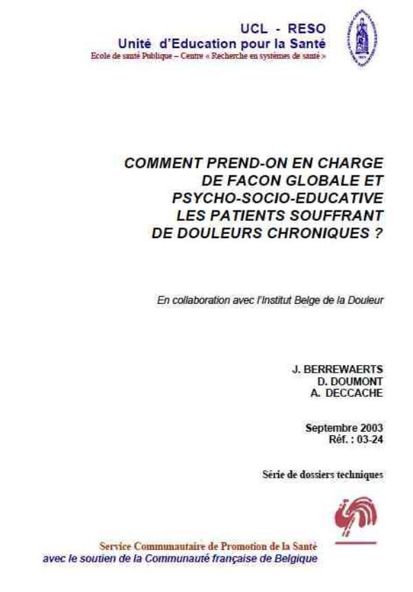 La fibromyalgie - Prise en charge globale de la fibromyalgie - Institut Belge de la douleur (1)