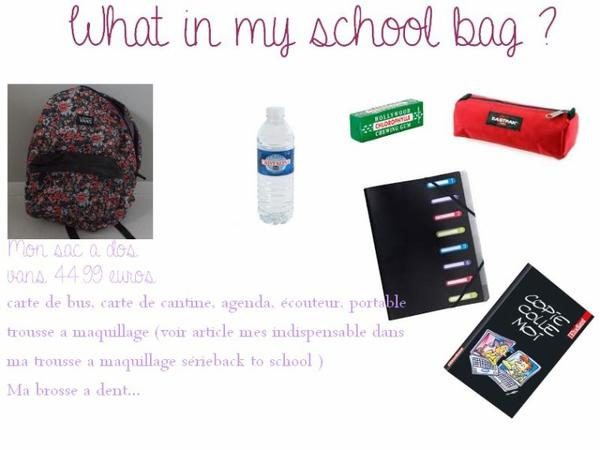 back to school: What in my school bag ?