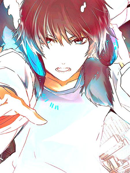Un garçon aux cheveux châtains et aux yeux bleu.