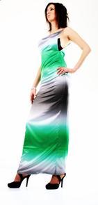 Robe de soirée avec un éffet dégrader vert et argenté...............Par Queenyla-Création