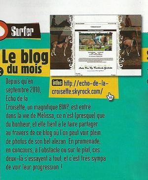 """"""" On est blog du mois dans Cheval Star - Edition Janvier 2013 page 77 """""""
