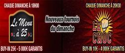 Le Menu à 25 et Le Choc les 2 nouveaux tournois sur Barrière Poker !