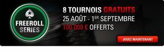 Freeroll Series : 100 000 ¤ offerts et huit tournois entièrement gratuits !