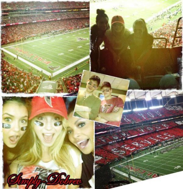 Nina a posté quelques photos sur son twitter lors d'un match de football américain avec des membres du cast de TVD.