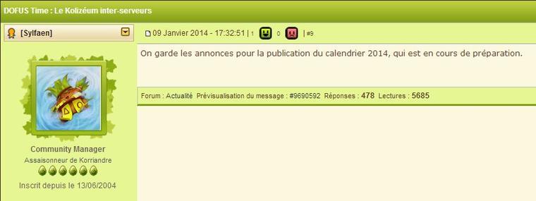Villa de Sufokia / Calendrier 2014 pour bientôt ?