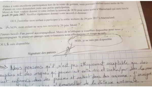 Elle refuse que son fils aille au Marineland d'Antibes avec sa classe et lui écrit un mot d'excuse génial