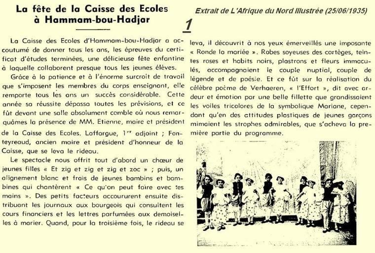 1* HAMMAM BOUHADJAR en 1935