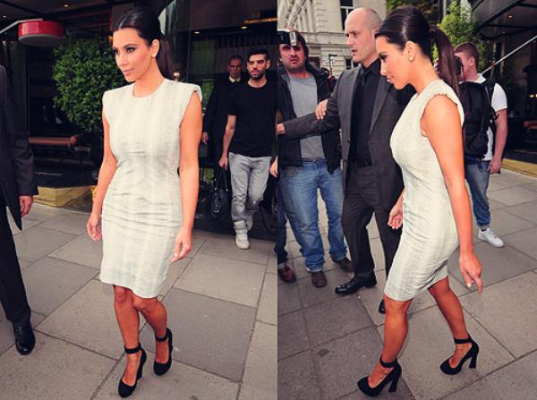 16\05\12 Kim Kardashian et Kanye West à Londres, aperçues par les paparazzis
