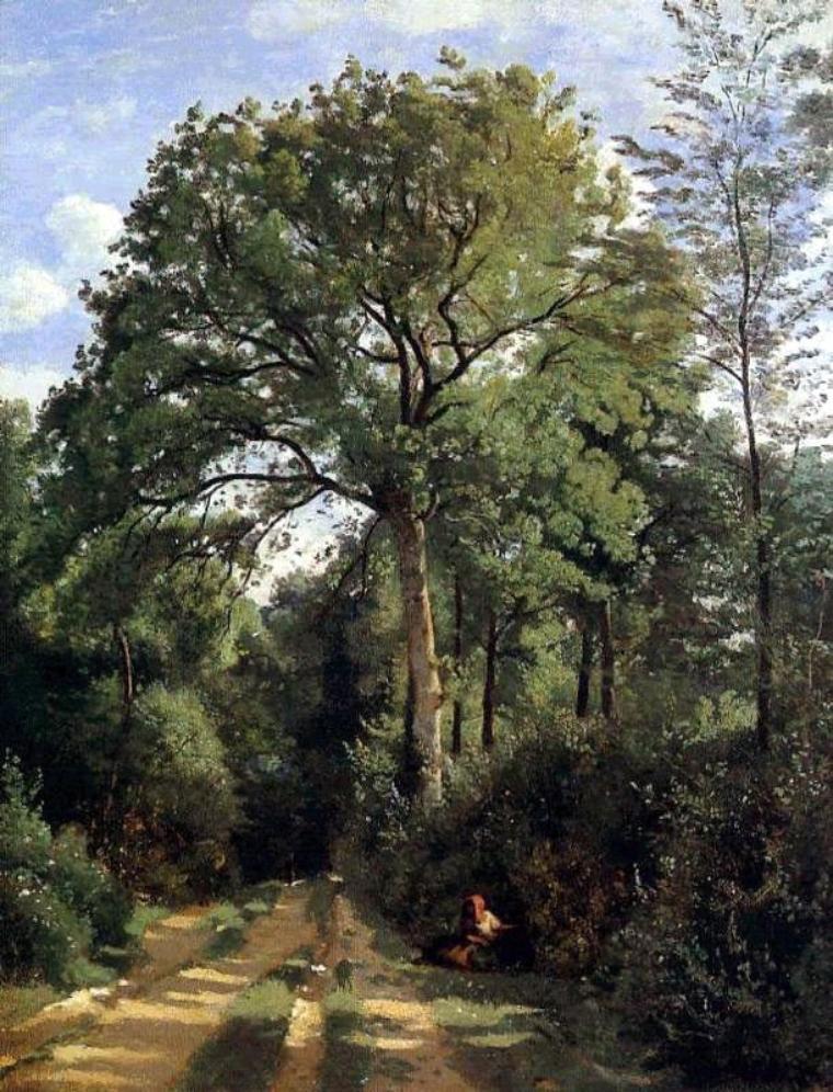 Jean-Baptiste Corot  (1796-1875)   :  Ville-d' Avray  ,  fermière en bordure des bois (1825)