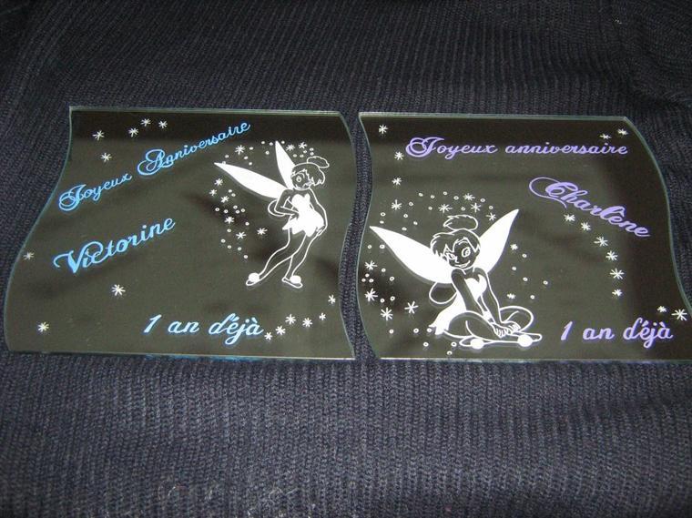2 miroirs gravés