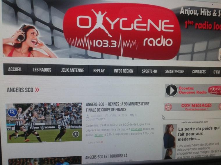 écoutez sur  OXYGENE  LA  RADIO  d' Angers Sco  likez  sur  ecoutez