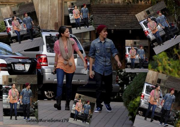 10/01/12 : Selena Gomez et Justin Bieber arrivant dans un restaurant pour diner ensemble, à Hollywood