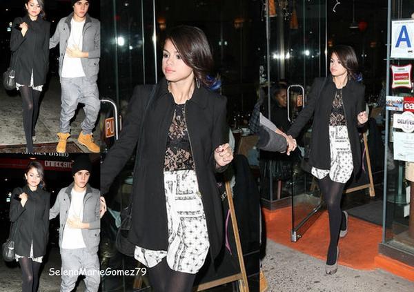 Hier, Selena a été vue à Manhattan quittant un restaurant en compagnie de Justin Bieber.
