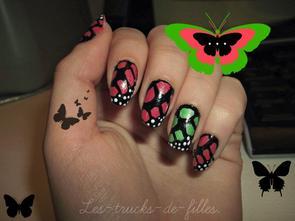 78ème Article : Nail art papillon rose et vert !