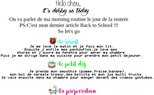Morning Routine: la rentrée #BTS