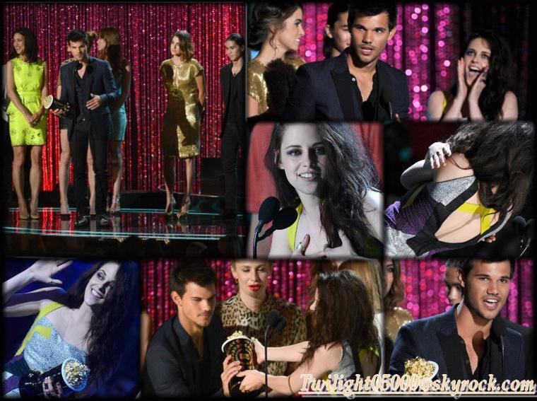 Le Cast de Twilight était présent le 4juin aux MTV Awards 2012 (sauf il n'y avait pas Rob'). Il ont remporté le trophé du meileure film de l'année & pour Kristen/Rob', le trophé du meilleure baisé ( c'est la 4éme fois )!   ;)