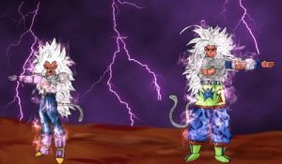 Sangoku et Vegeta au niveau 5 tout les deux ki font fusion