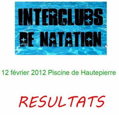 Résultats Interclubs Natation pour Triathlètes à Hautepierre 12 février 2012