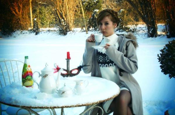 un thé sous la neige