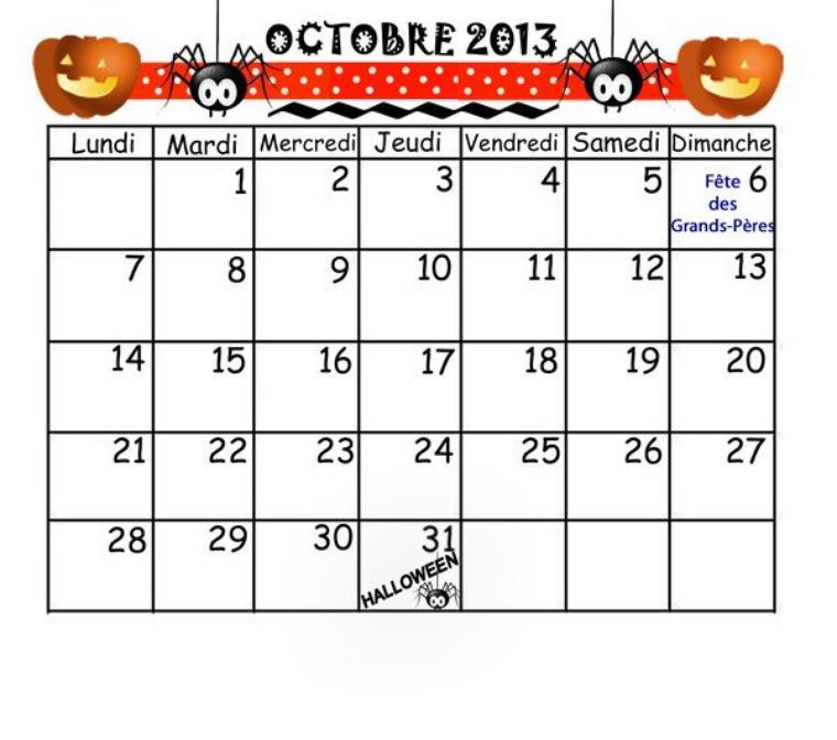 le moi de octobre 2013
