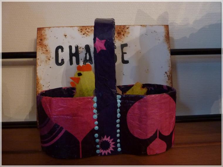 DIY Panier en cartonnage et décos de Pâques