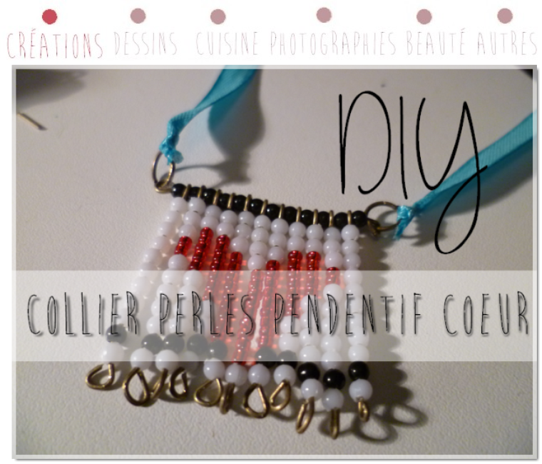 DIY Pendentif en canevas de perles : motif coeur
