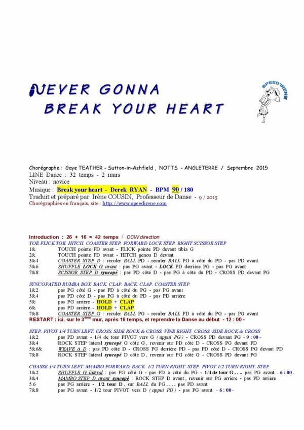 NEVER GONNA BREAK YOUR HEART