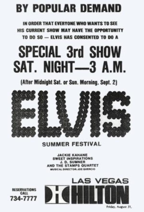 Elvis Presley Las Vegas Hilton Septembre 3, 1973