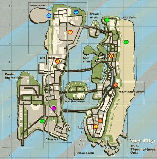 Courses  de Rue/ de points de passage de gta vice city
