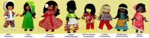 La série complète des 8 Clodrey ethniques