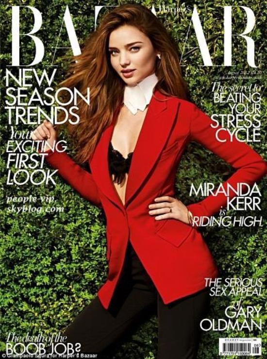 """Miranda Kerr est magnifique en couverture du magazine US """"Bazaar"""""""