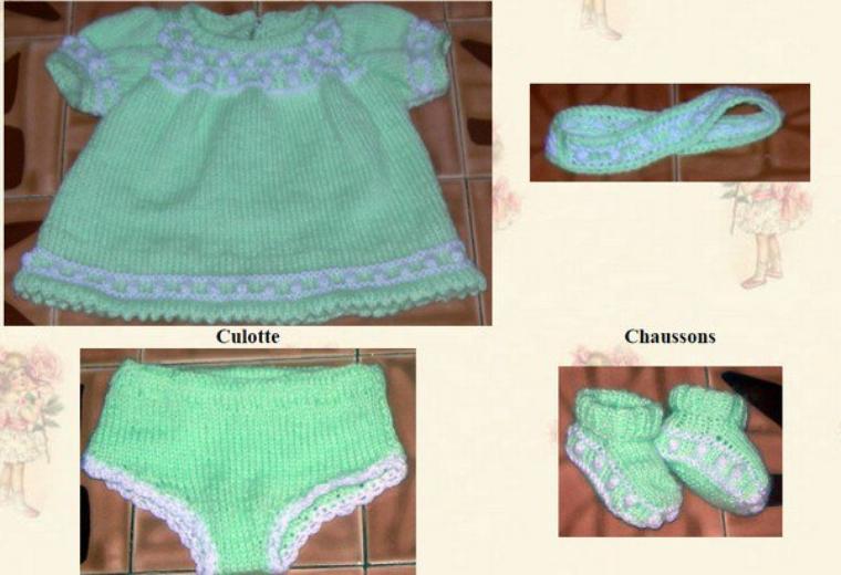 tuto tricot : robe, bandeau, culotte et chaussons.