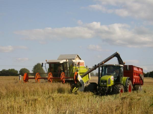 moissoneuse bateuse claas 108 suivis d'un tracteur claas ARES 816 RZ