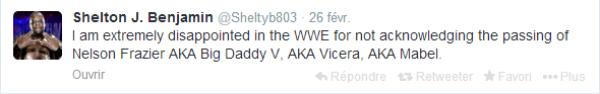 Shelton Benjamin déçu de la WWE !