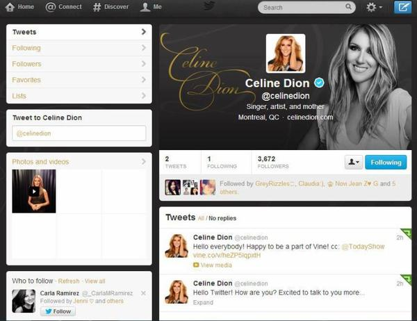 Céline sur Twitter!!!