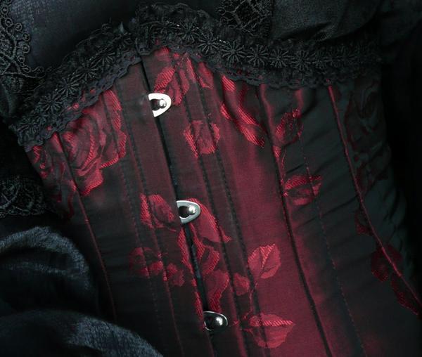 Serre-taille Roses rouge et noir