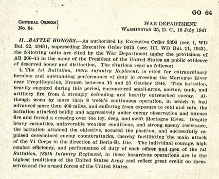 Décoration au drapeau et citation présidentielle - Streamer and Presidential Unit itation