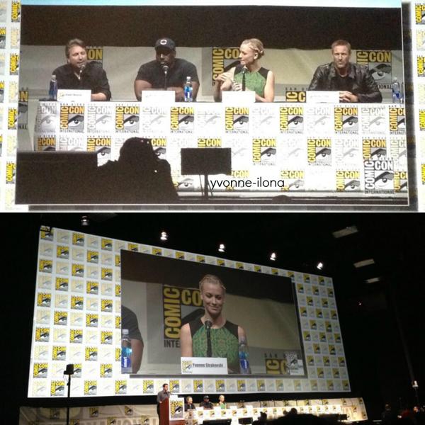 Même jour et même lieu, Yvonne a assisté au panel du film I Frankenstein pendant le Comic Con avec Aaron Eckhart, Stuart Beattie et Kevin Grevioux