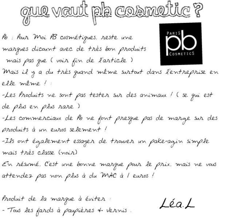 > Pb : Pas chère, mais Es-ce du maquillage potable ?