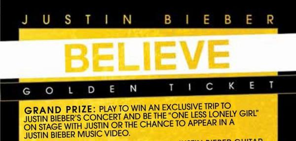 "GOLDEN TICKETS in every BELIEVE album.  1st prize is concert tickets and be my ""One Less Lonely Girl"" on stage during the BELIEVE tour  2nd Prizes are 10 signed guitars with 2 tickets and meet and greets to the Believe Tour  3rd Prize is signed posters to you  so find those #GOLDENTICKETS in #BELIEVE on JUNE 19th! thanks"