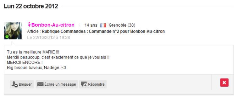 Rubrique Commandes : Commande n°2 pour Bonbon-Au-citron