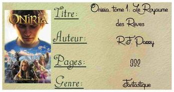 Chronique Oniria Tome 1 10/01/2015 - 17/01/2015
