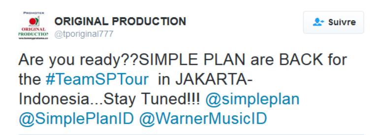 Simple Plan à Jakarta?
