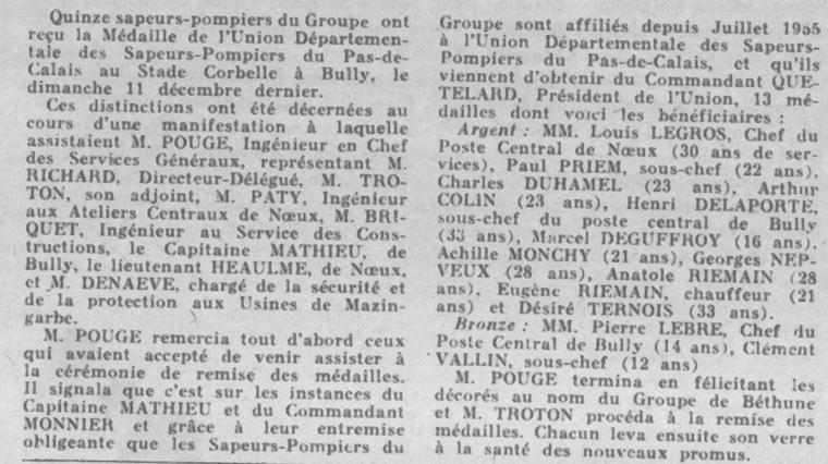 Art 1518 : Les Sapeurs Pompiers de Bully en 1955