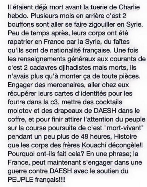 Ils en savent décidément trop...ces conspirationnistes de l'attentat de Charlie Hebdo : Je suis un Illuminati et je vous emmerde