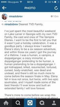 Nina Dobev quitte la série...